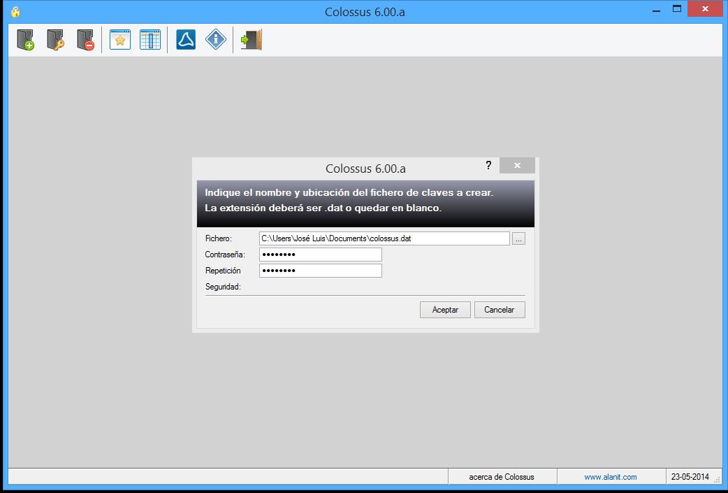 Colossus 6.0 - Creación de un fichero de claves