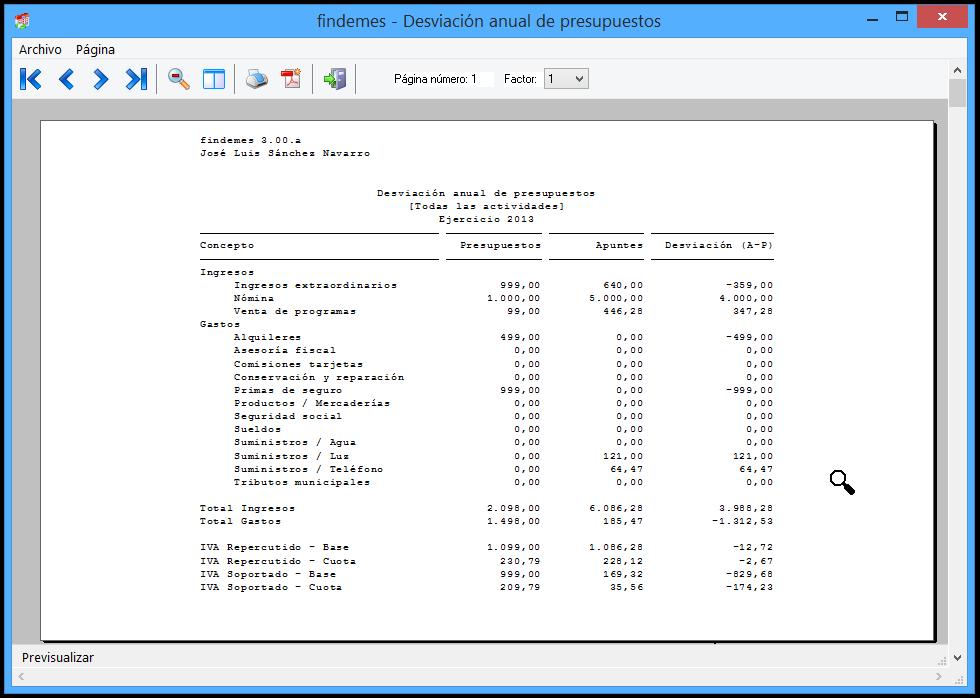 findemes 3.00 - desviación de presupuestos
