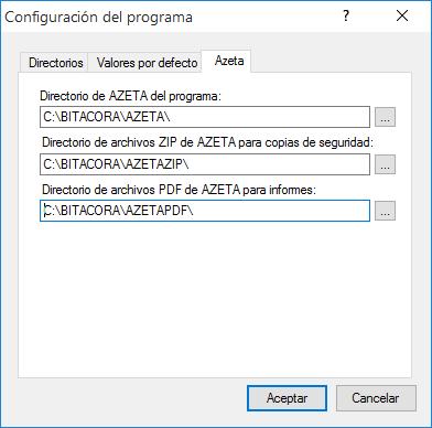 Configuración de datos de Azeta en Cuaderno de Bitácora.