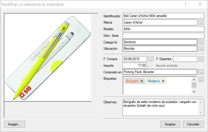 Formulario de edición de bienes en Findemes 3.0